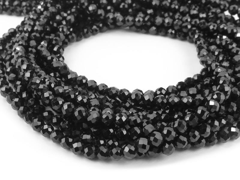 AAA Black Spinel Faceted Round Beads 3mm ~ 12.5'' Strand
