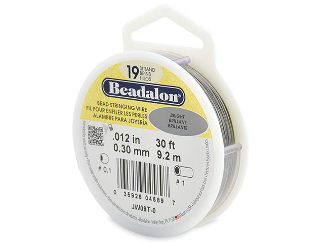 Beadalon 19 Strand Stringing Wire 0.012'' (0.3mm) - Bright - 30 ft