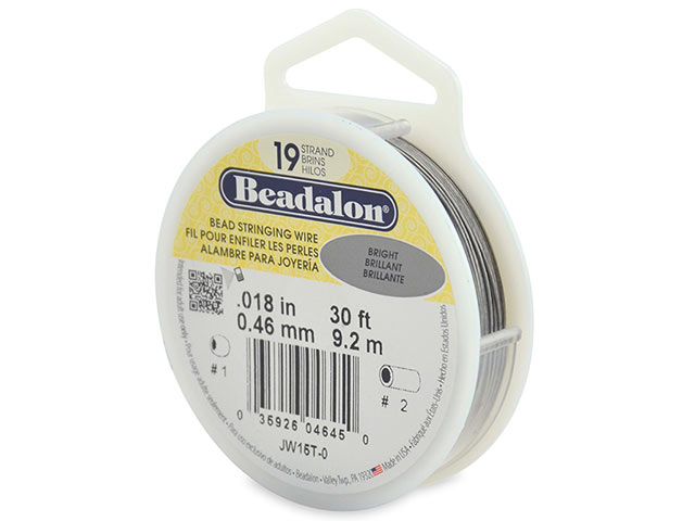 Beadalon 19 Strand Stringing Wire 0.018'' (0.46mm) - Bright - 30 ft