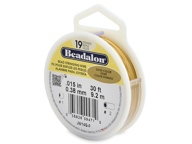 Beadalon 19 Strand Stringing Wire 0.015'' (0.38mm) - Gold - 30 ft