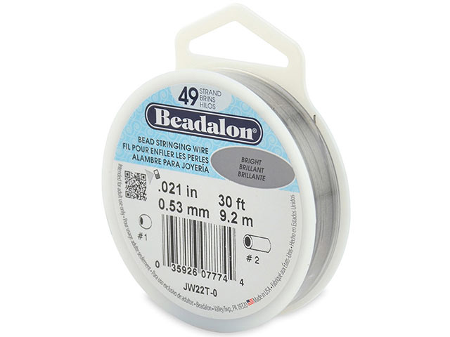 Beadalon 49 Strand Stringing Wire 0.021'' (0.53mm) - Bright - 30 ft