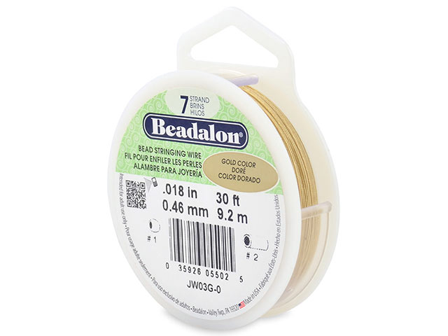 Beadalon 7 Strand Stringing Wire 0.018'' (0.46mm) - Gold ~ 30 Feet