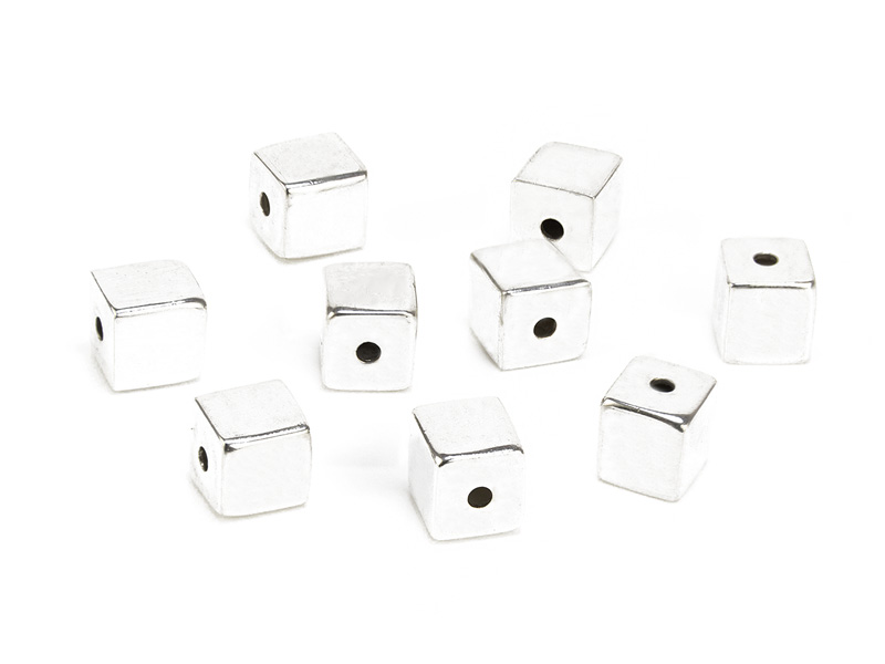 Sterling Silver Square Bead 4mm