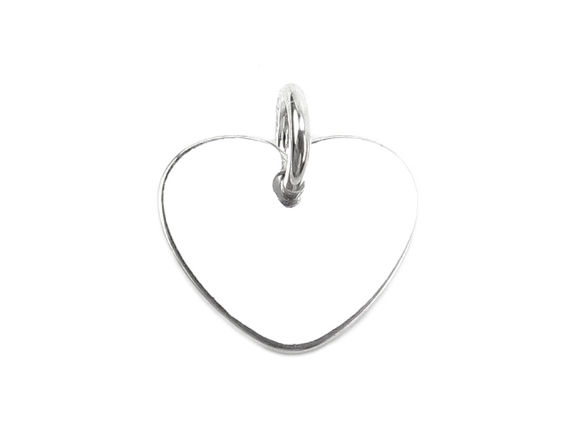 Sterling Silver Heart Charm (Thin) 9mm ~ Optional Engraving