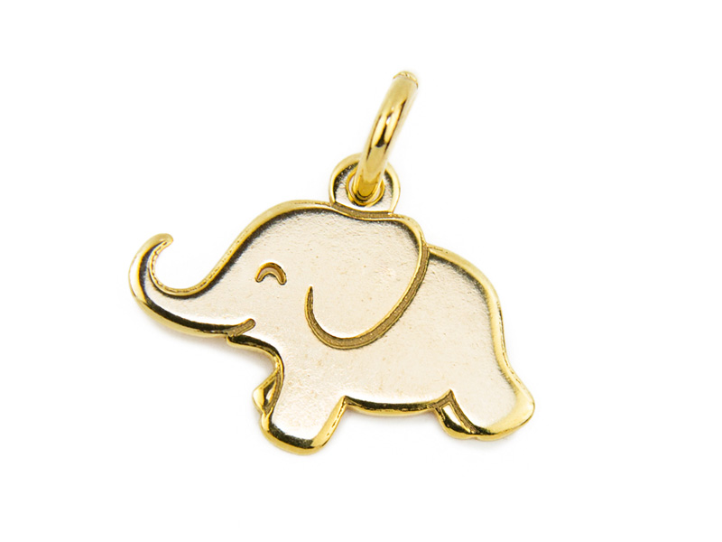 Gold Vermeil Elephant Pendant 12mm