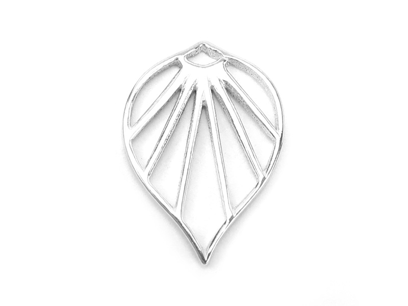 Sterling Silver Art Deco Palm Leaf Pendant 17mm