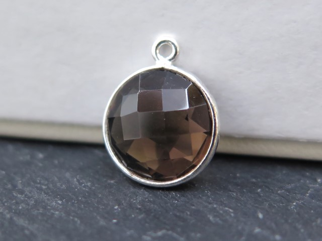Sterling Silver Smoky Quartz Round Pendant 14mm