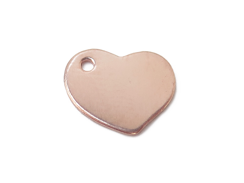 Rose Gold Filled Heart Tag 9mm