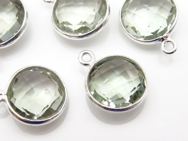 Sterling Silver Green Amethyst Round Pendant 14mm