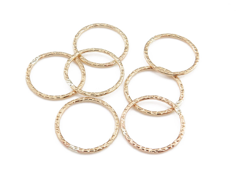 Gold Filled Textured Closed Jump Ring 15mm