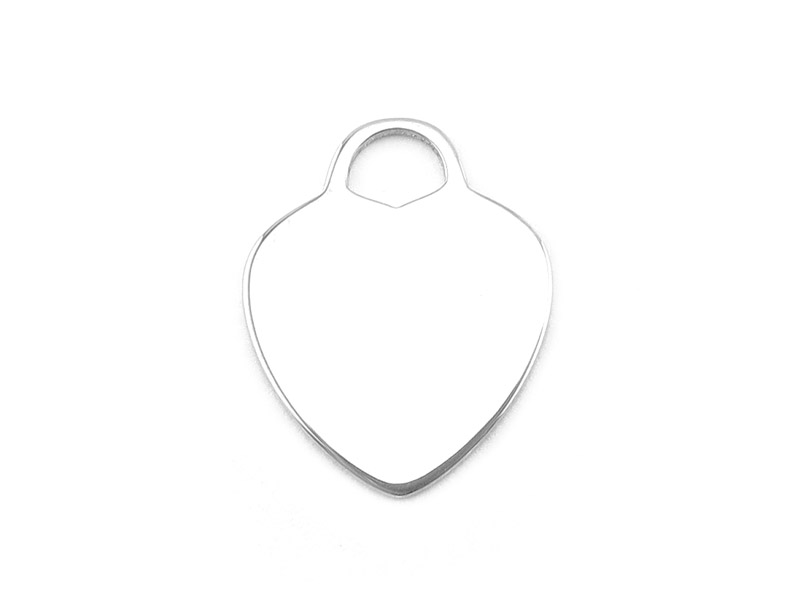 Sterling Silver Heart Pendant 16mm ~ Optional Engraving