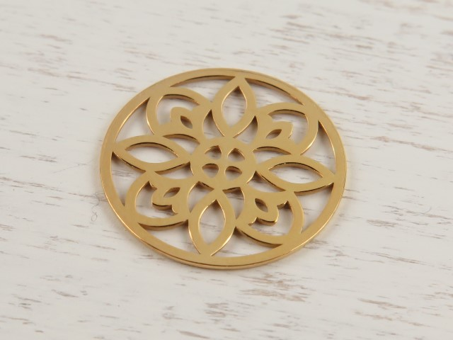 Gold Vermeil Round Flower Connector 15mm