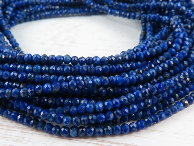 AAA Lapis Lazuli Micro-Faceted Rondelles 2-2.5mm ~ 12.5'' Strand