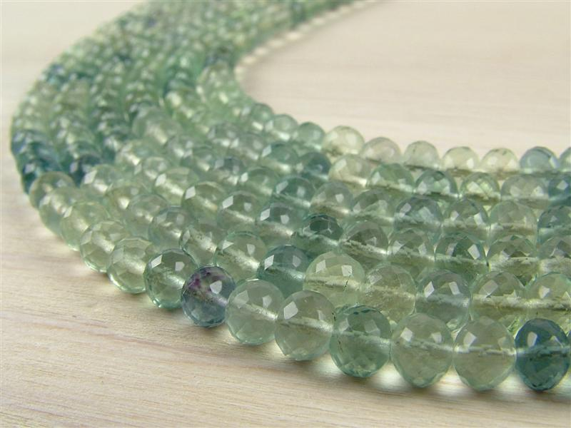 AA+ Fluorite Micro-Faceted Rondelles ~ Various Sizes ~ 8.25'' Strand