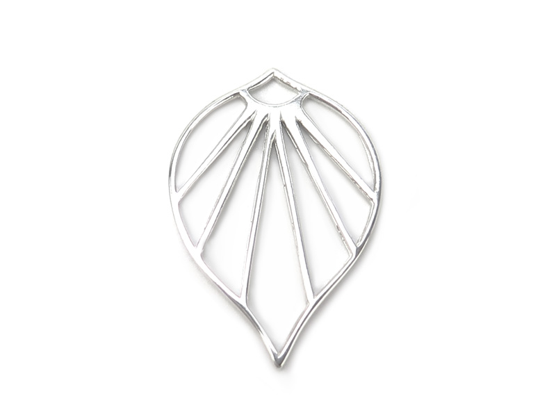 Sterling Silver Art Deco Palm Leaf Pendant 24mm