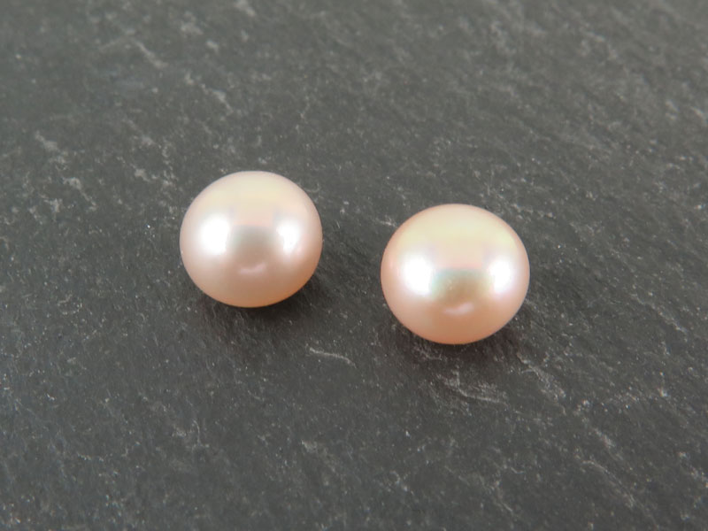 Freshwater Pearl Peach Button ~ Various Sizes ~ Half Drilled ~ SINGLE