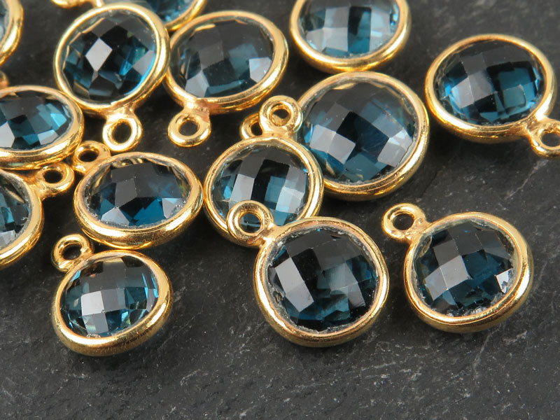 Gold Vermeil London Blue Topaz Round Charm 7.5-8mm