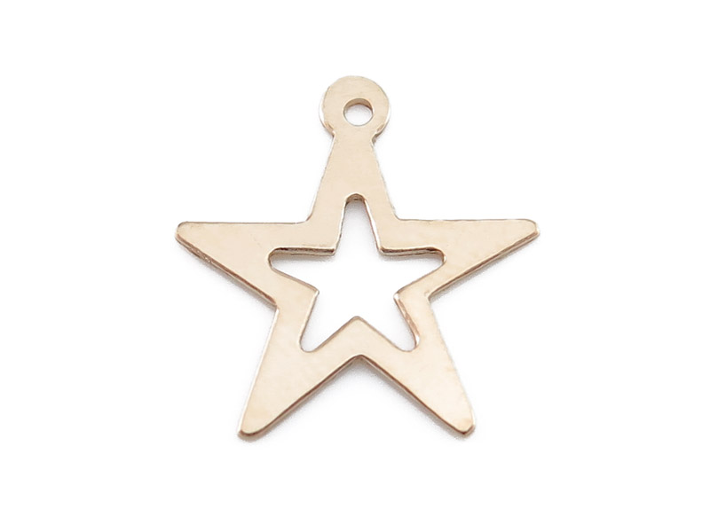 Gold Filled Open Star Charm 16mm