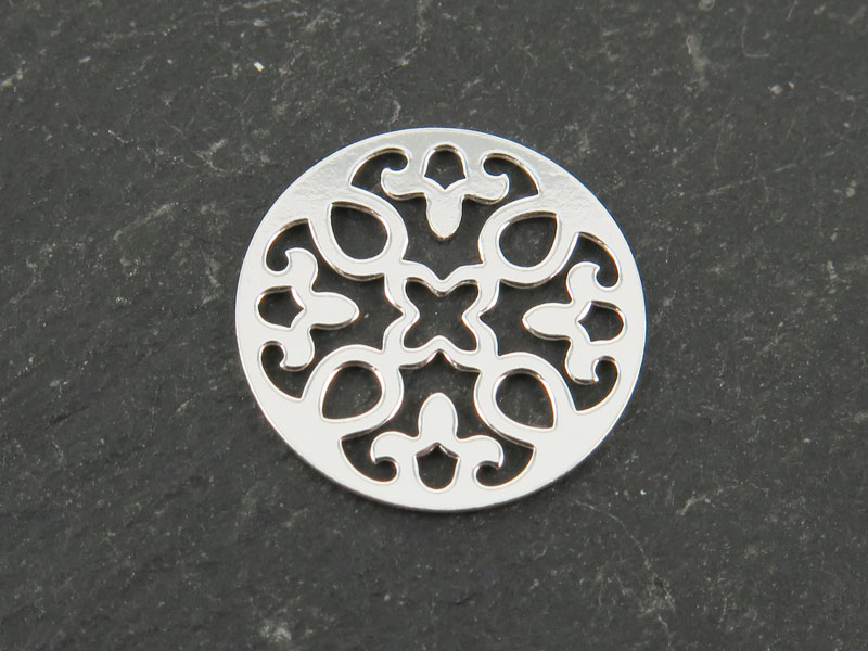 Sterling Silver Round Mandala Connector 13mm
