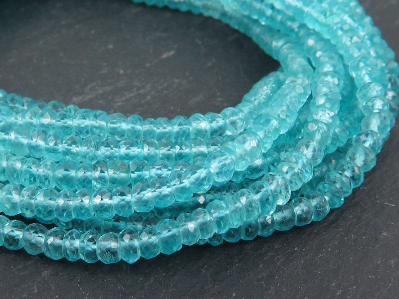 Ocean Blue Apatite Faceted Rondelles ~ Various Sizes ~ 13'' Strand
