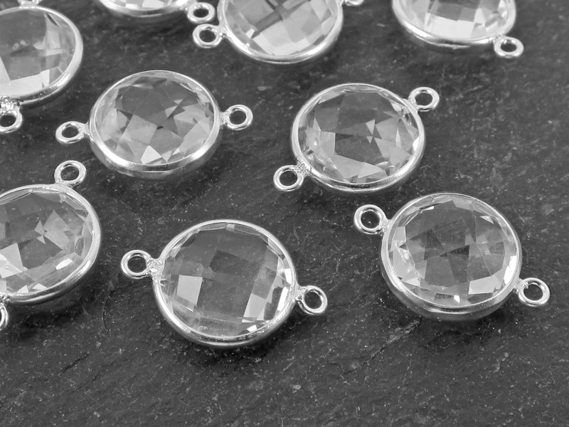 Sterling Silver Crystal Quartz Round Connector 16mm