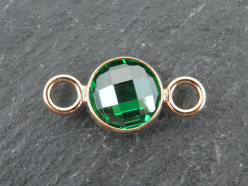 Cubic Zirconia Gold Filled Connector ~ Green ~ 18mm