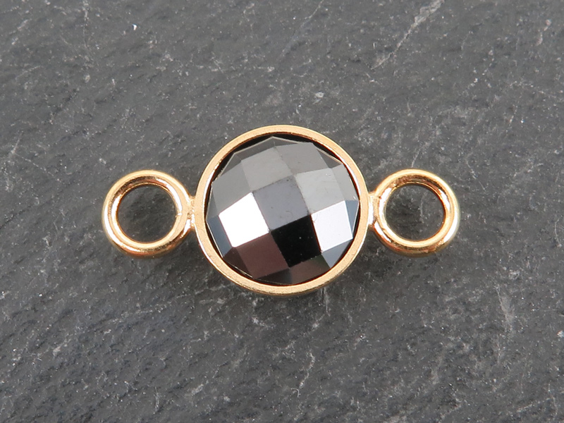 Cubic Zirconia Gold Filled Connector ~ Black ~ 18mm