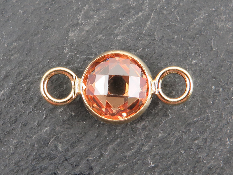 Cubic Zirconia Gold Filled Connector ~ Peach ~ 18mm