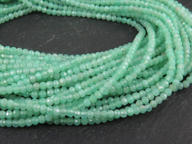 AAA Chrysoprase Micro-Faceted Rondelles 1.75mm ~ 13'' Strand