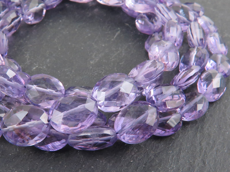 AA Amethyst Faceted Oval Beads 9-10mm ~ 8'' Strand