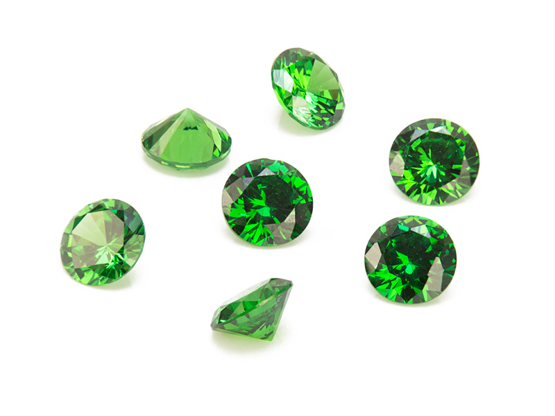 Cubic Zirconia Round ~ Green ~ Various Sizes
