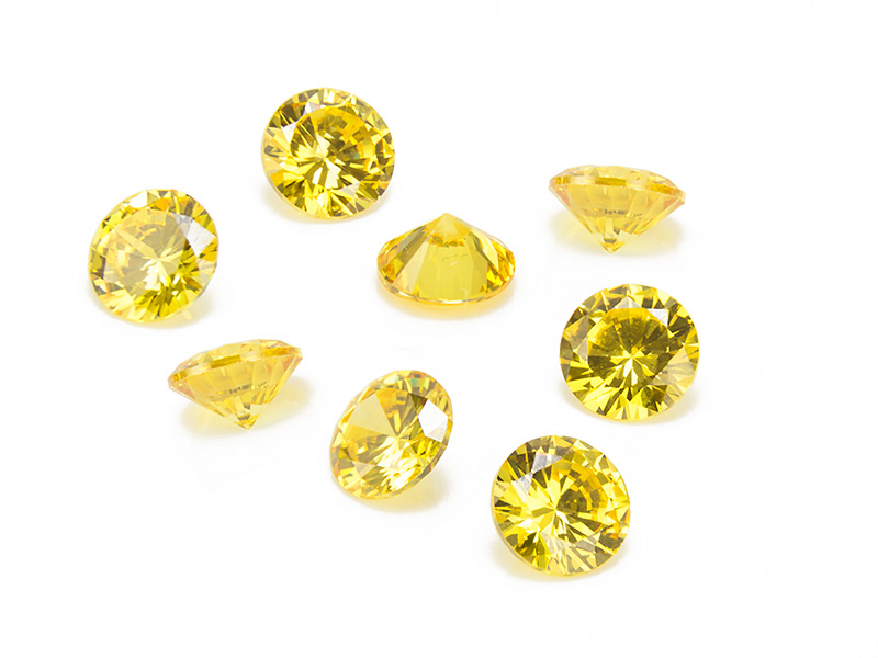 Cubic Zirconia Round ~ Yellow ~ Various Sizes