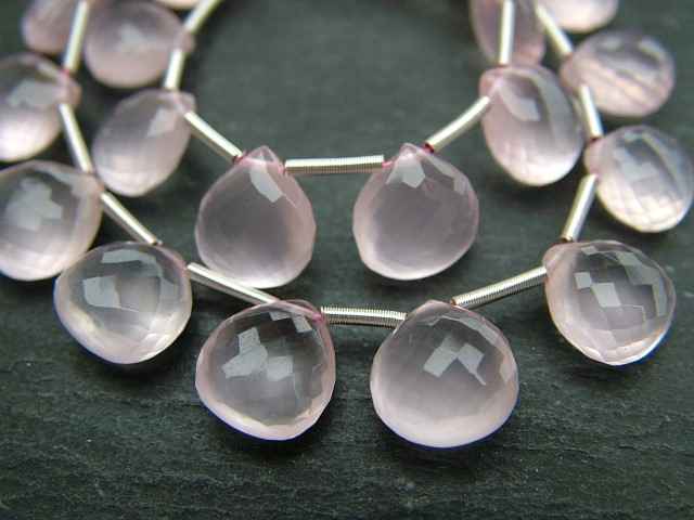 AA+ Rose Quartz Micro-Faceted Heart Briolettes ~ Various Sizes