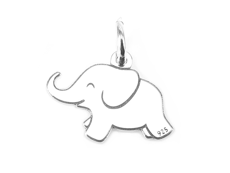 Sterling Silver Elephant Pendant 12mm