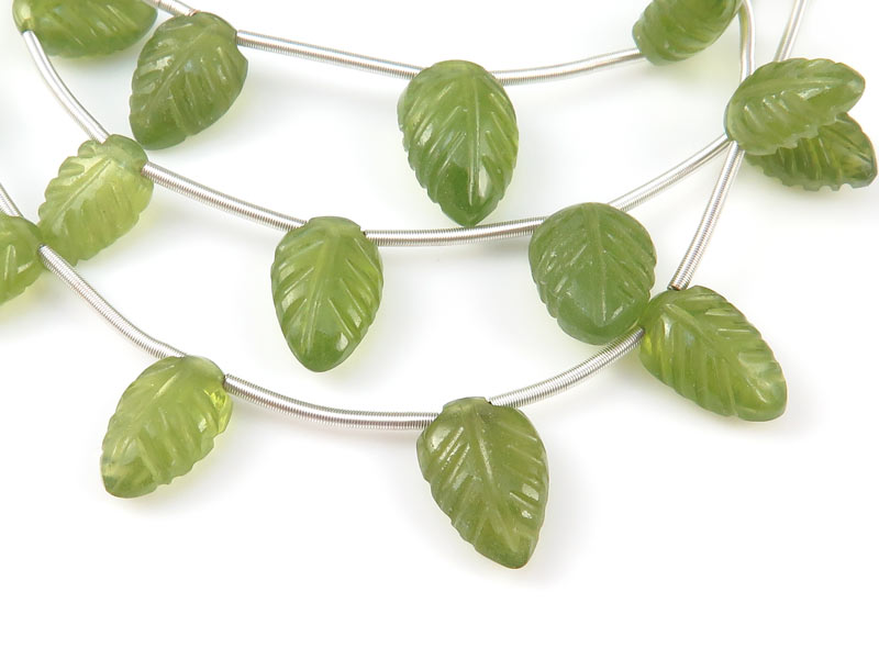 AA Vesuvianite Carved Leaf Briolettes 8-11.5mm ~ 9'' Strand