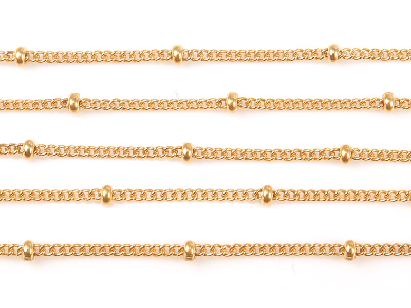 Gold Filled Satellite Chain 1.5 x 1.2mm (16mm ball spacing) ~ Offcuts