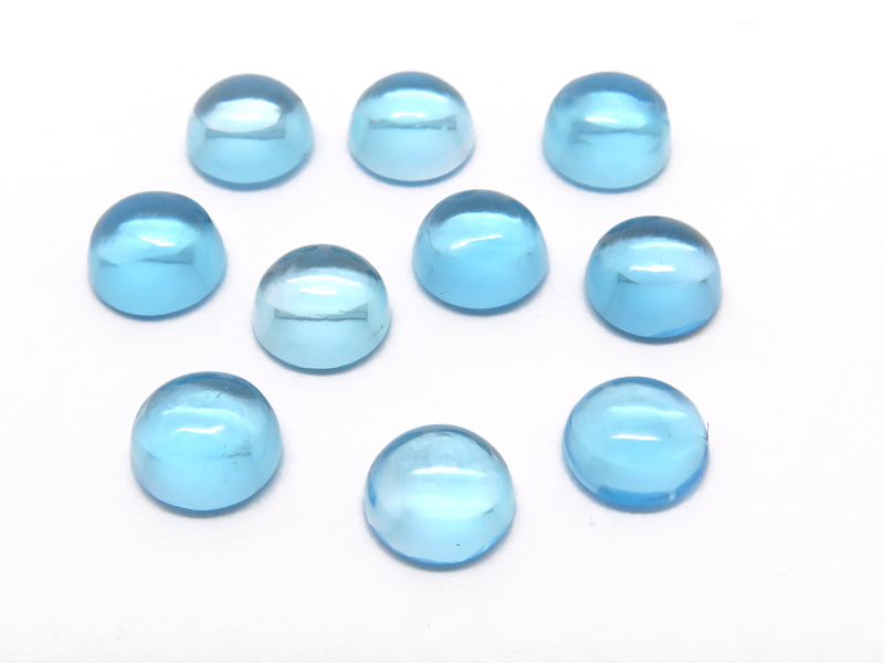 Swiss Blue Topaz Round Cabochon ~ Various Sizes