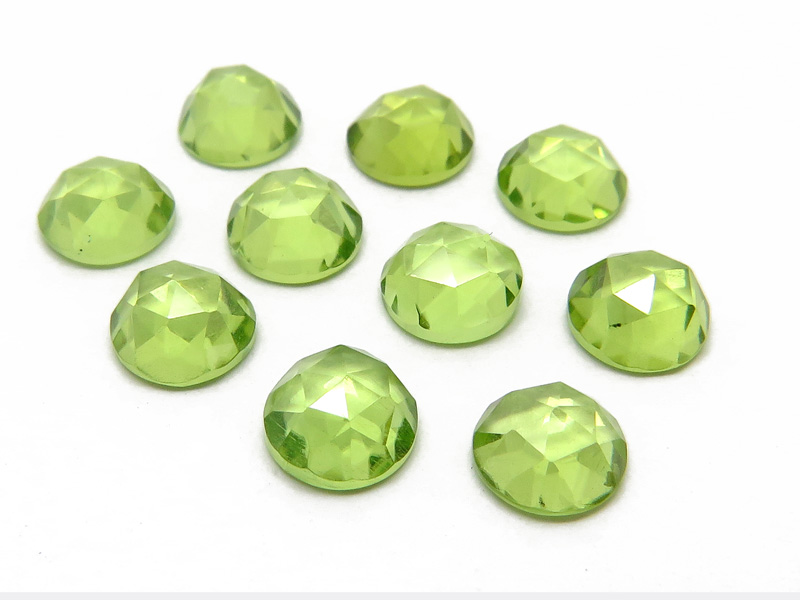 Peridot Rose Cut Round Cabochon ~ Various Sizes