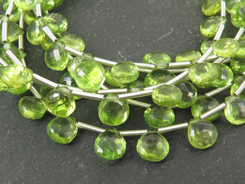AAA Peridot Micro Faceted Heart Briolettes 6.5-7.5mm ~ 9'' Strand