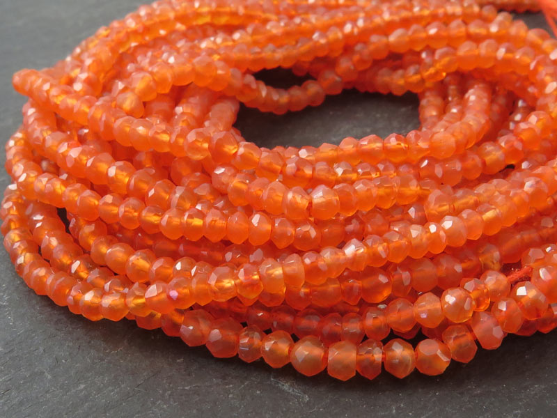 Carnelian Faceted Rondelles 3.25-3.5mm ~ 13'' Strand