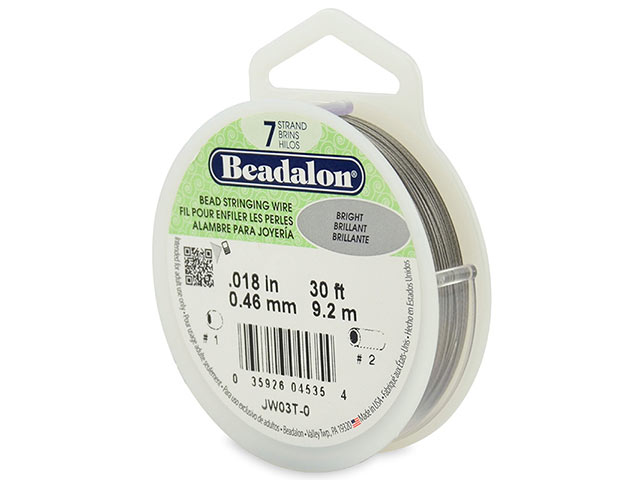 Beadalon 7 Strand Stringing Wire 0.018'' (0.46mm) - Bright ~ 30 Feet