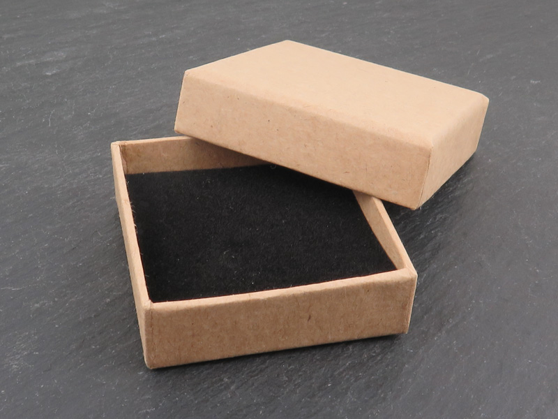 Earring/Pendant Box with Foam Insert ~ Natural ~ 55mm x 55mm